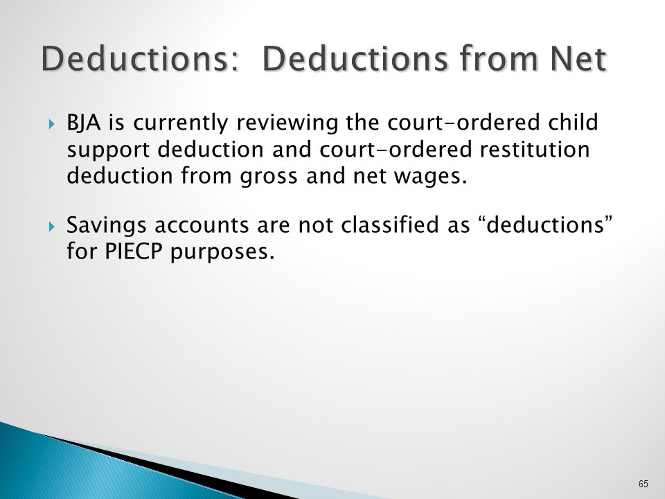 Deductions: Deductions from Net
