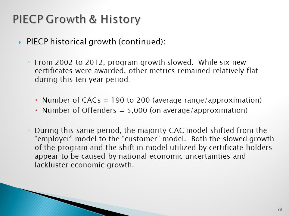 PIECP Growth & History PIECP historical growth (continued):