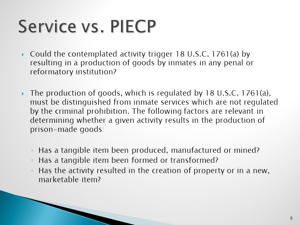 Service vs. PIECP