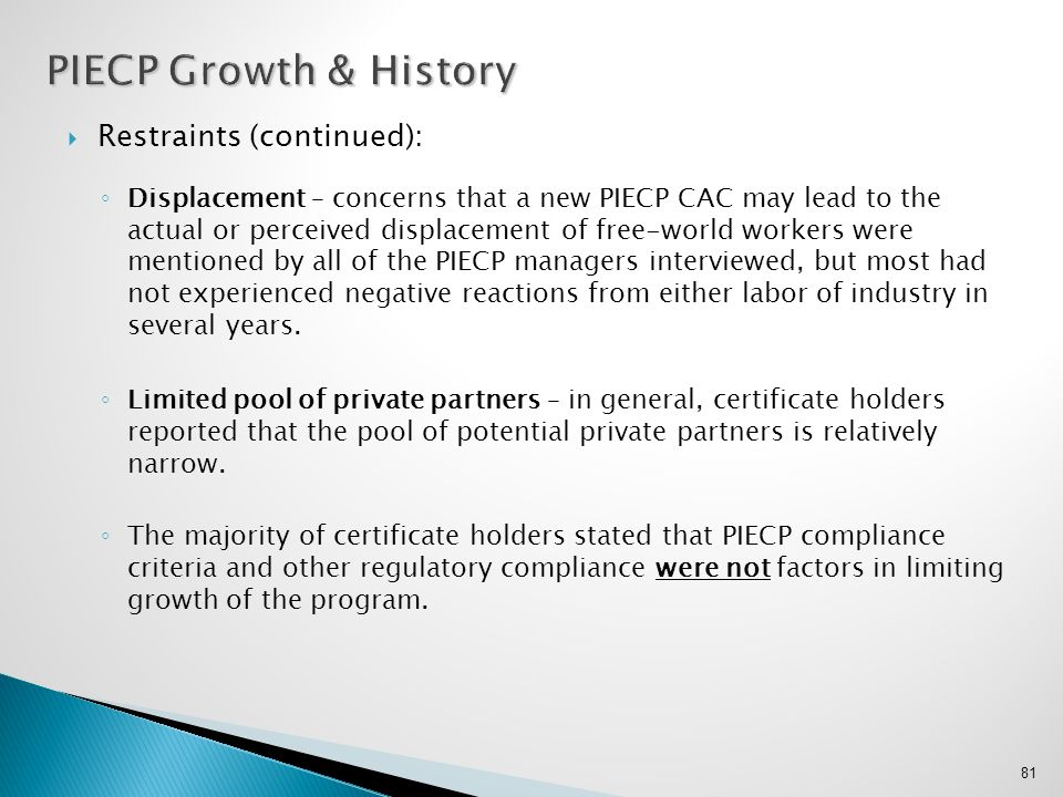 PIECP Growth & History Restraints (continued):