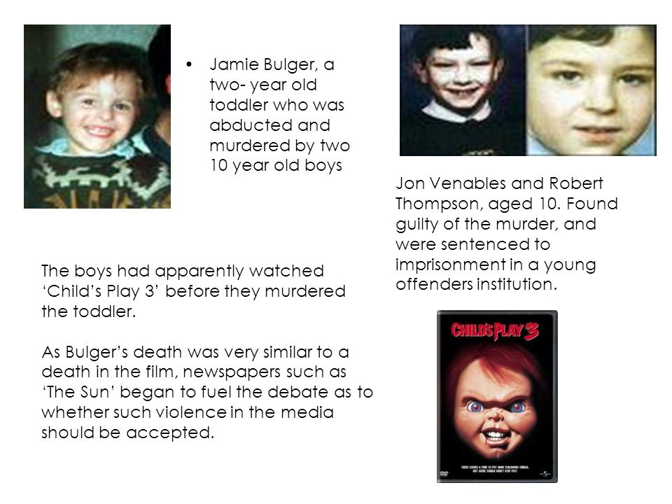 Jamie Bulger, a two- year old toddler who was abducted and murdered by two 10 year old boys