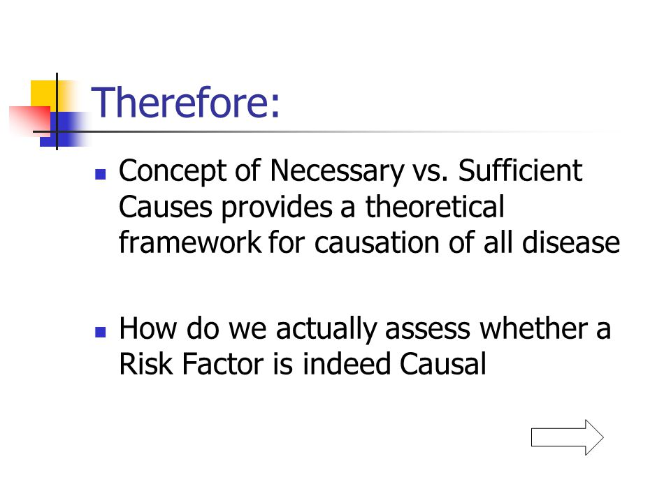 Therefore: Concept of Necessary vs. Sufficient Causes provides a theoretical framework for causation of all disease.