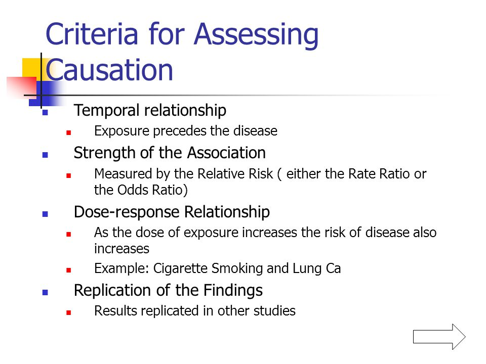 Criteria for Assessing Causation