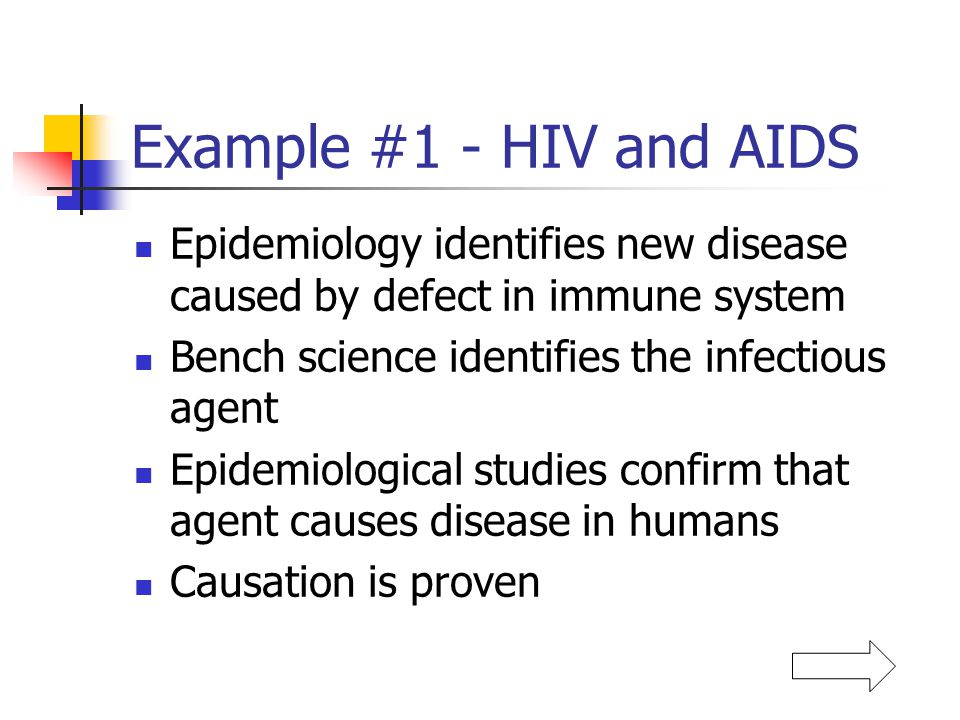 Example #1 - HIV and AIDS Epidemiology identifies new disease caused by defect in immune system. Bench science identifies the infectious agent.