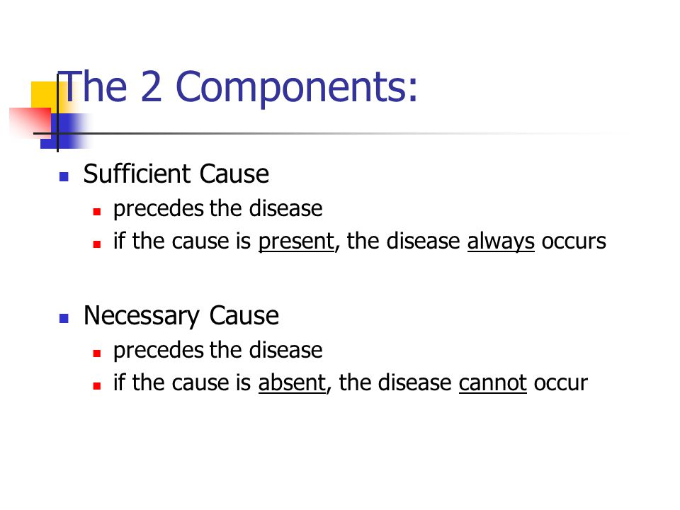 The 2 Components: Sufficient Cause Necessary Cause