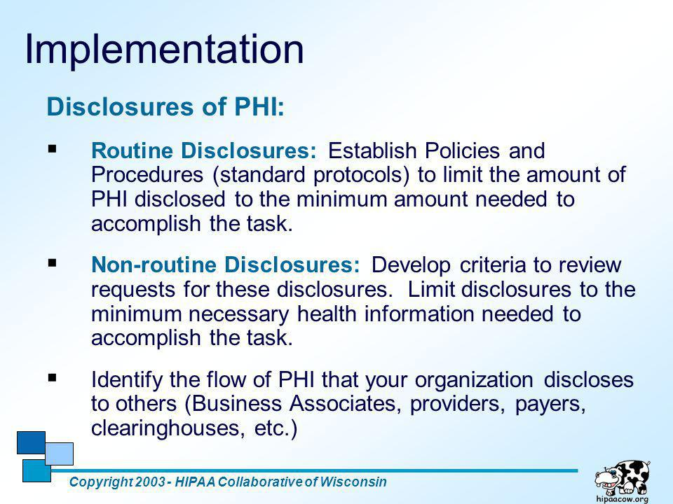 Implementation Disclosures of PHI: