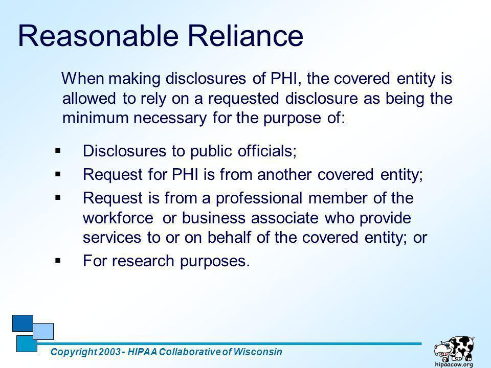 Reasonable Reliance