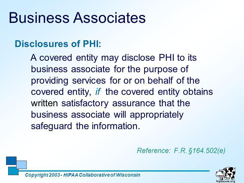 Business Associates Disclosures of PHI: