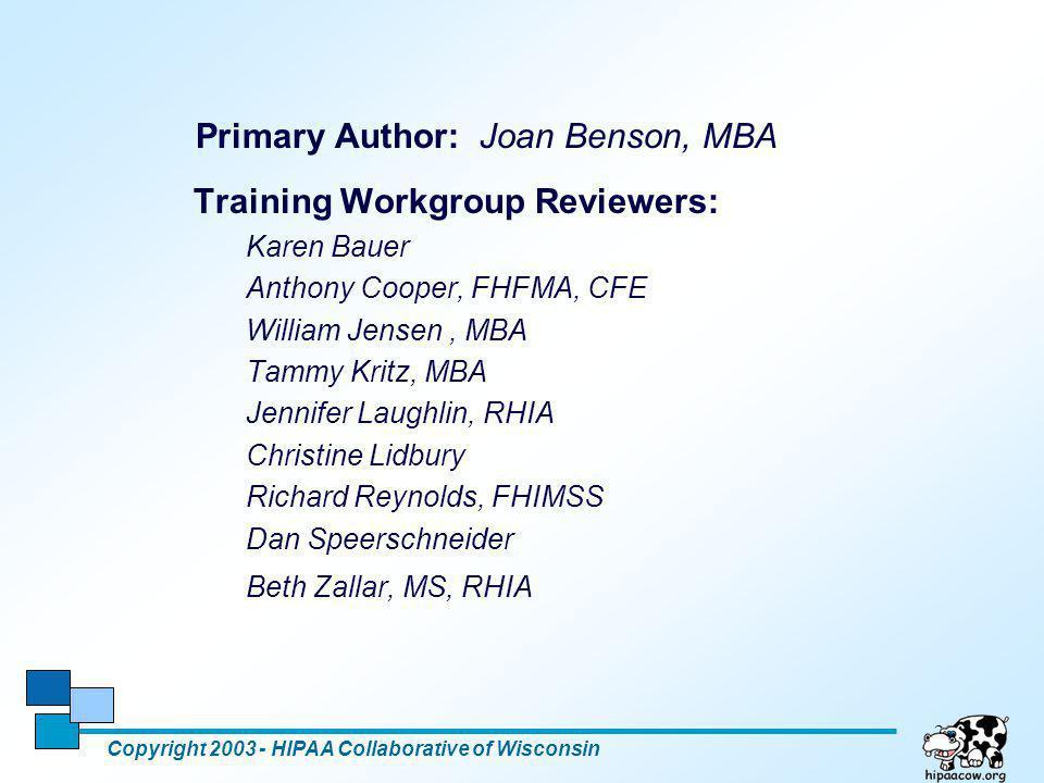 Primary Author: Joan Benson, MBA