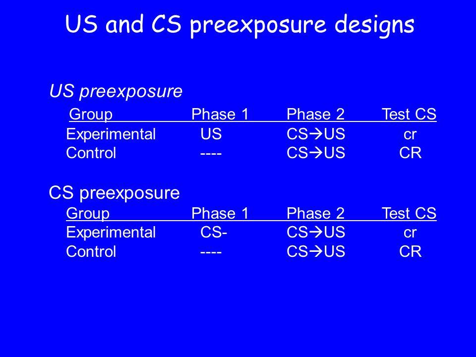 US and CS preexposure designs