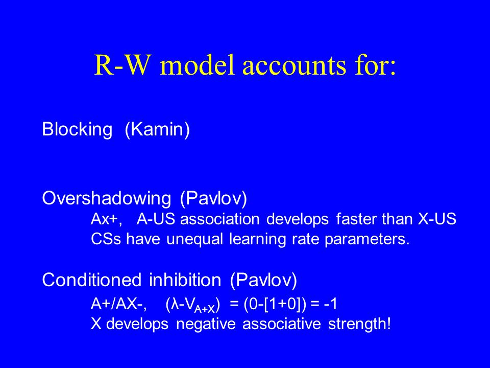 R-W model accounts for: