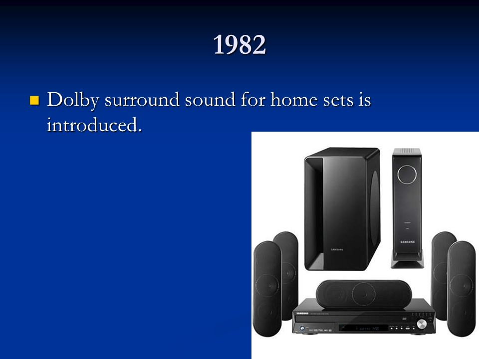 1982 Dolby surround sound for home sets is introduced.