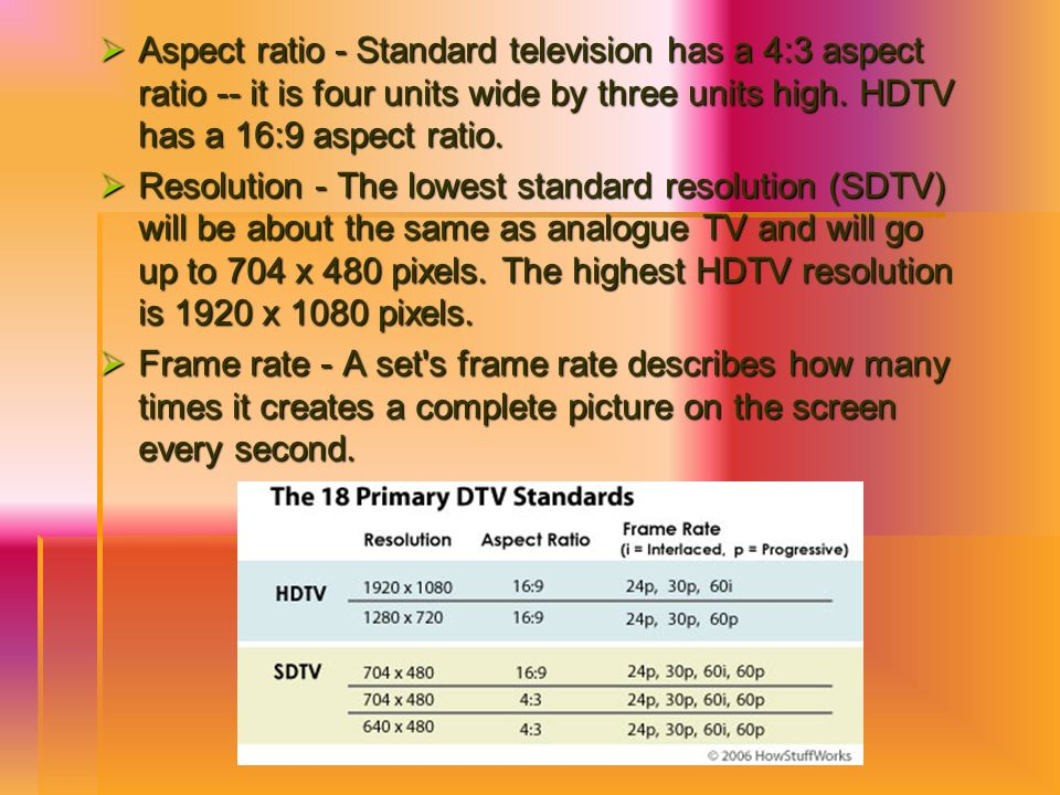 Aspect ratio - Standard television has a 4:3 aspect ratio -- it is four units wide by three units high. HDTV has a 16:9 aspect ratio.