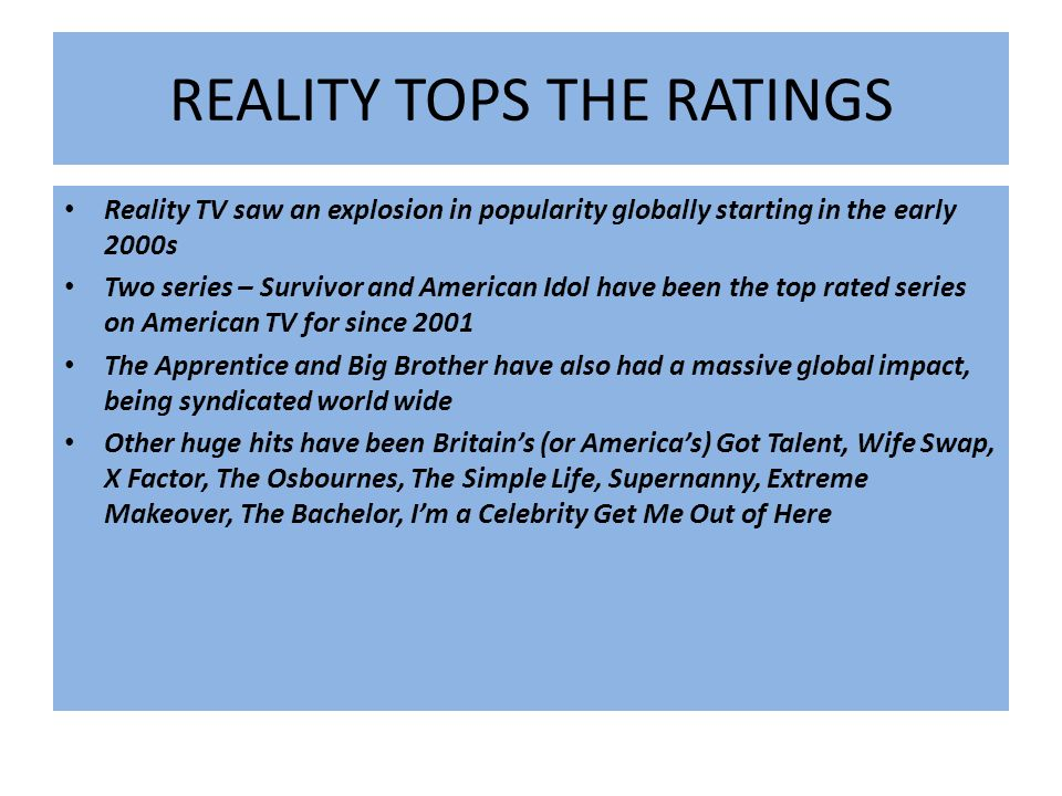 REALITY TOPS THE RATINGS