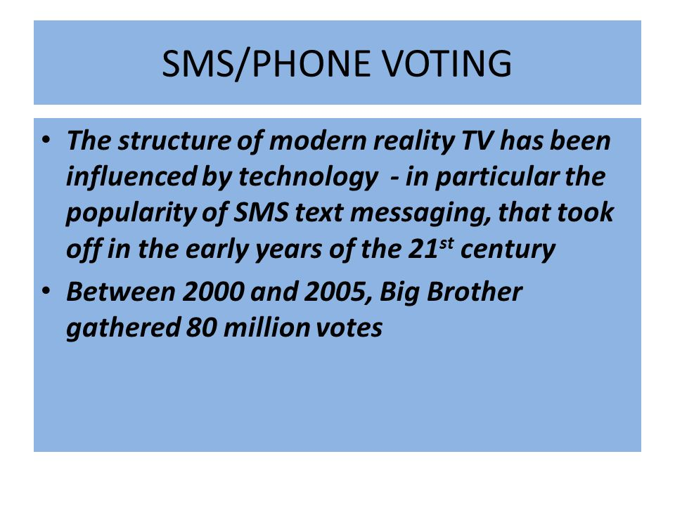 SMS/PHONE VOTING
