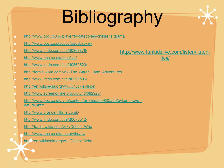 Bibliography http://www.funkidslive.com/listen/listen-live/
