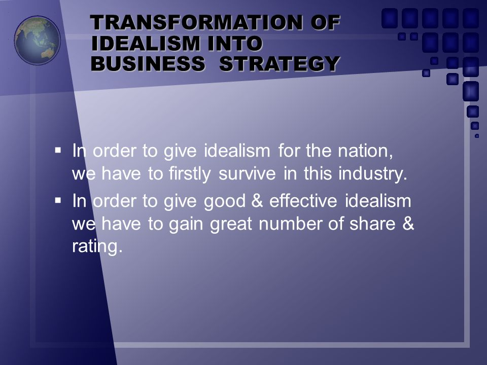 TRANSFORMATION OF IDEALISM INTO BUSINESS STRATEGY
