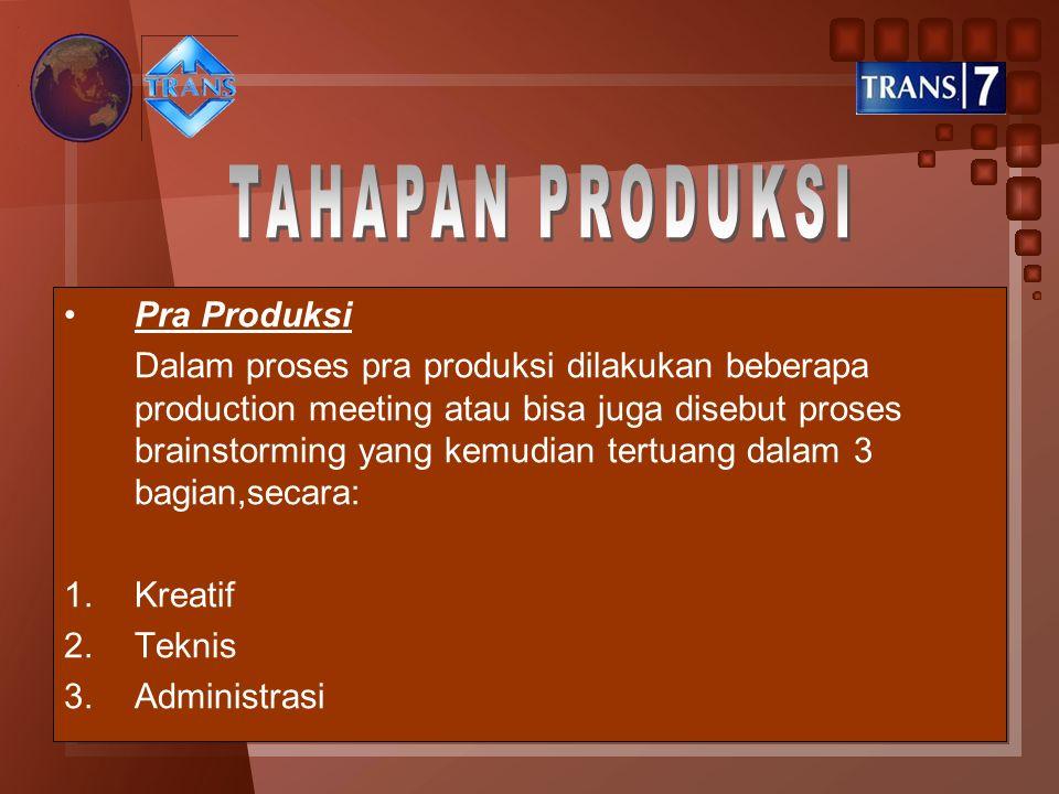 TAHAPAN PRODUKSI Pra Produksi