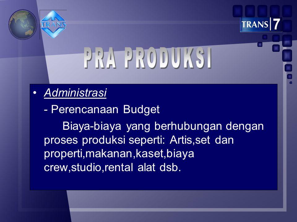 PRA PRODUKSI Administrasi - Perencanaan Budget