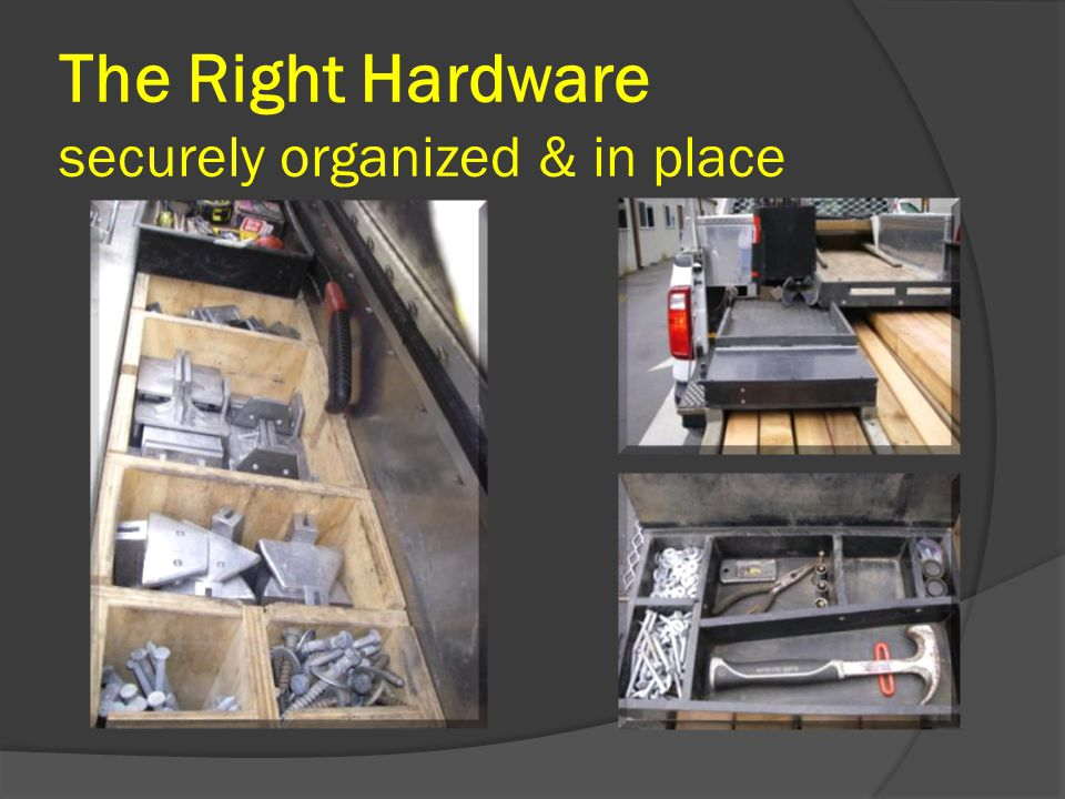The Right Hardware securely organized & in place