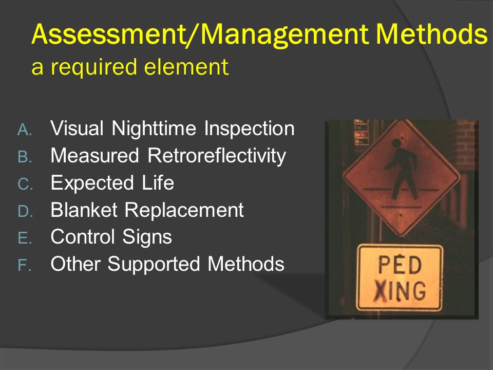 Assessment/Management Methods a required element