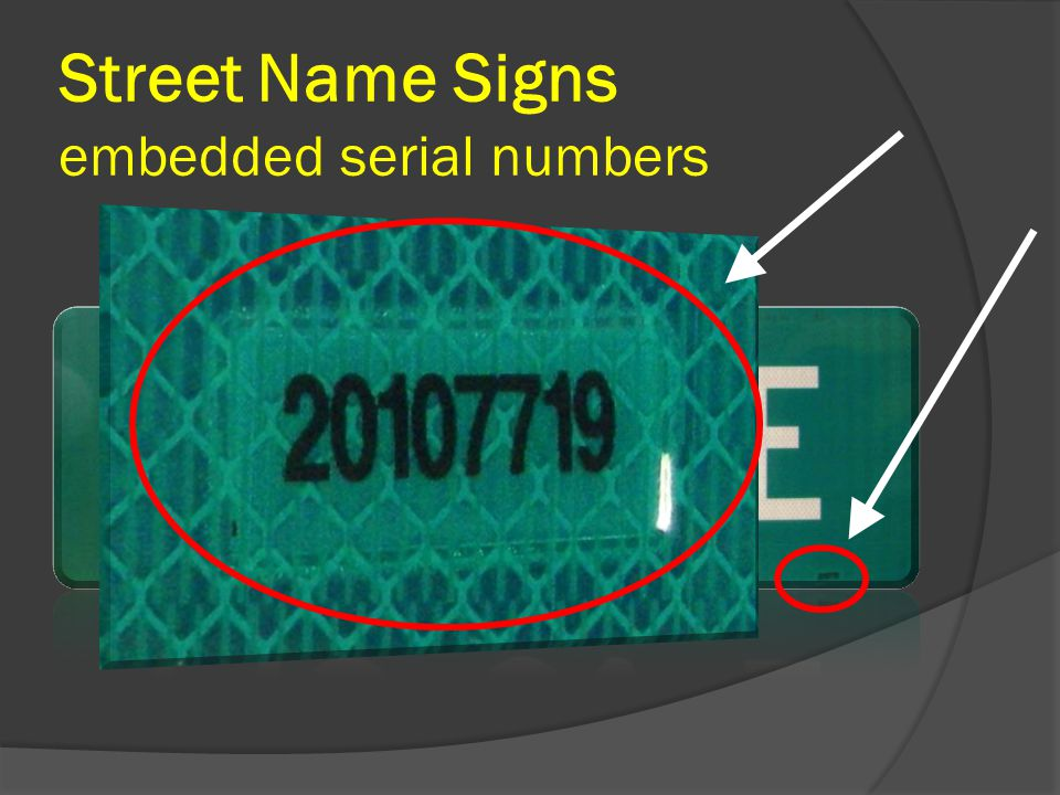 Street Name Signs embedded serial numbers