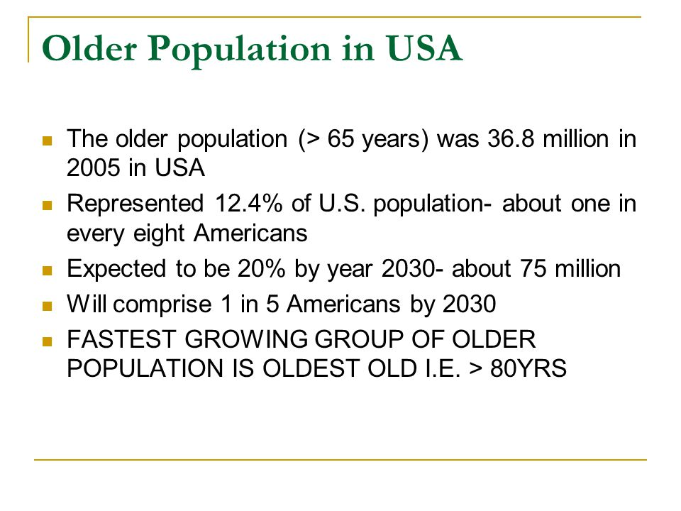 Older Population in USA