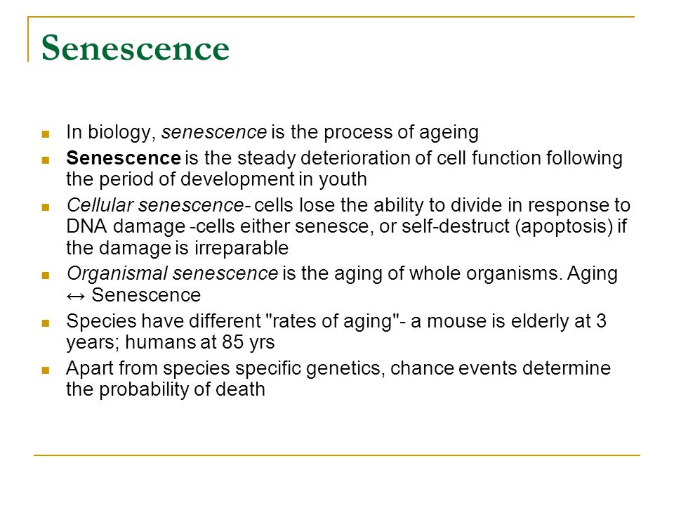 Senescence In biology, senescence is the process of ageing