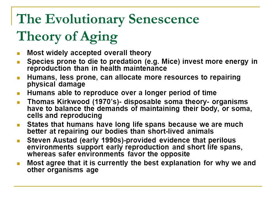 The Evolutionary Senescence Theory of Aging