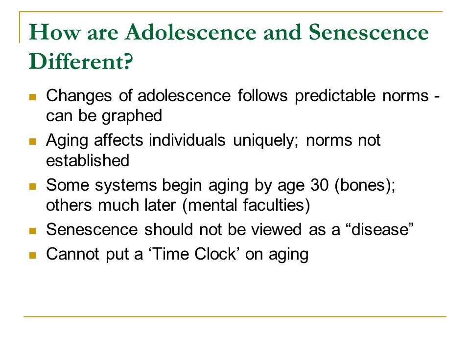 How are Adolescence and Senescence Different