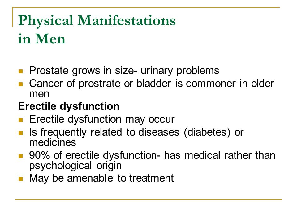 Physical Manifestations in Men