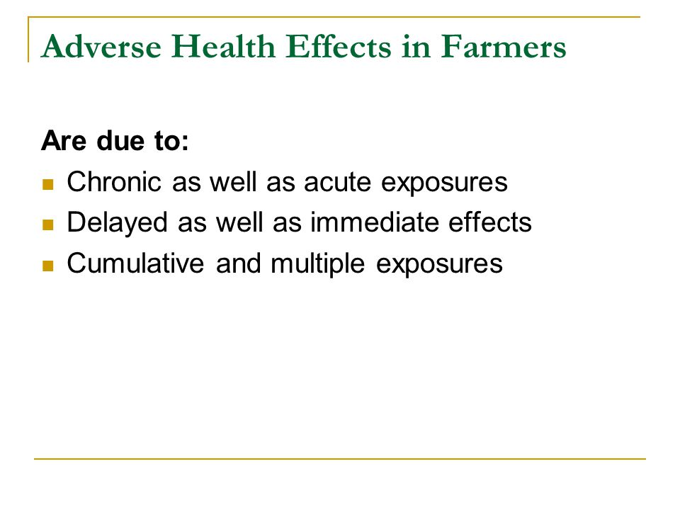 Adverse Health Effects in Farmers