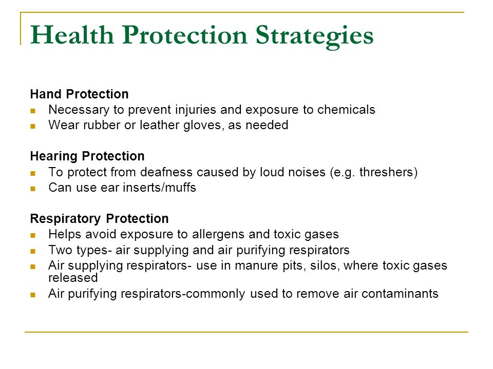 Health Protection Strategies