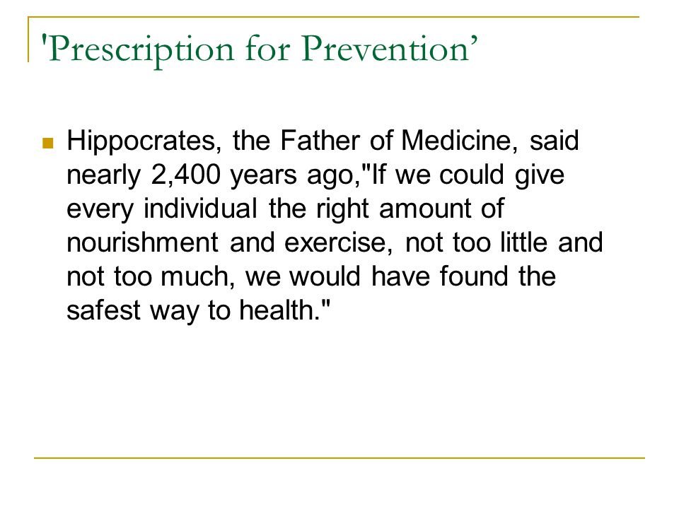 Prescription for Prevention'