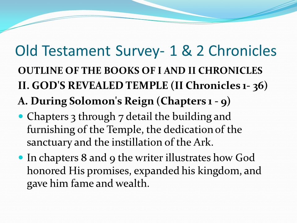 Old Testament Survey- 1 & 2 Chronicles