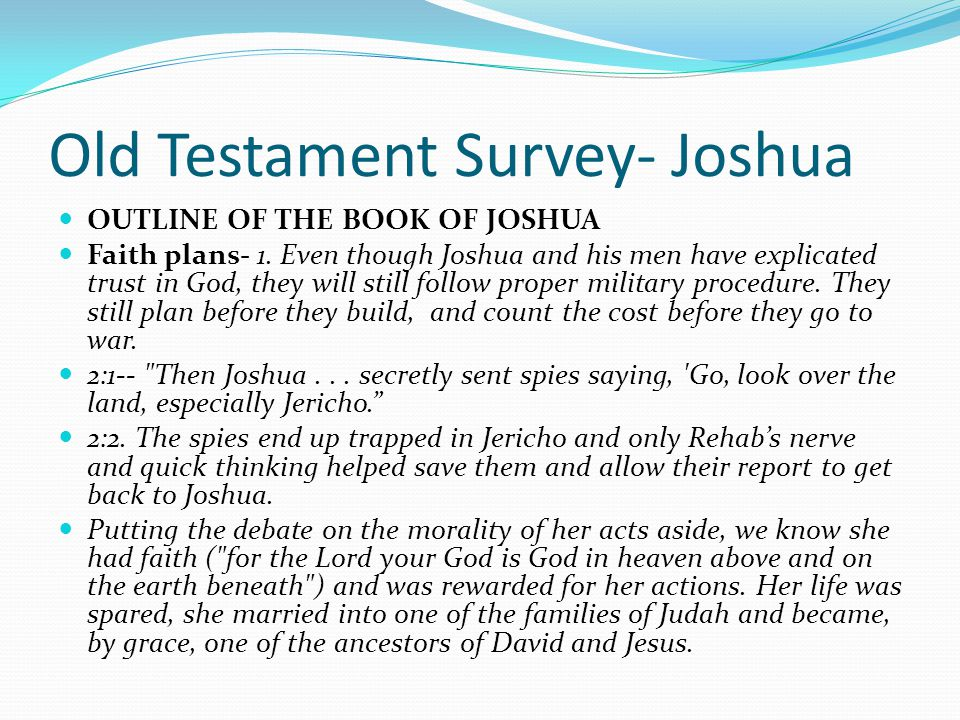 old testament survey 2-5% reflects timely reading of assigned readings reading log due with the final exam (5/7)-5% is based on a power point presentation introducing the content of a biblical .