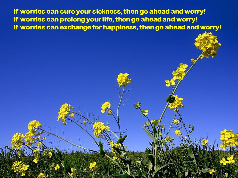 If worries can cure your sickness, then go ahead and worry!