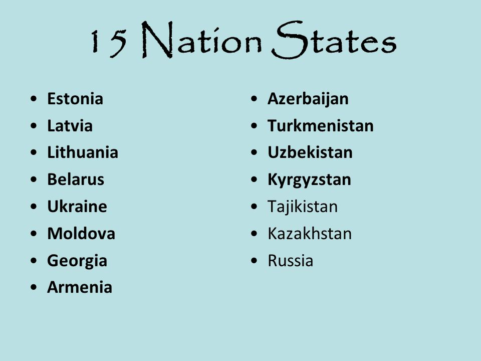 15 Nation States Estonia Latvia Lithuania Belarus Ukraine Moldova