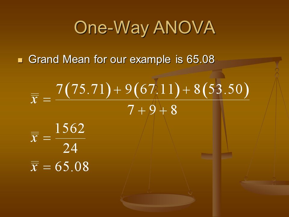 One-Way ANOVA Grand Mean for our example is 65.08