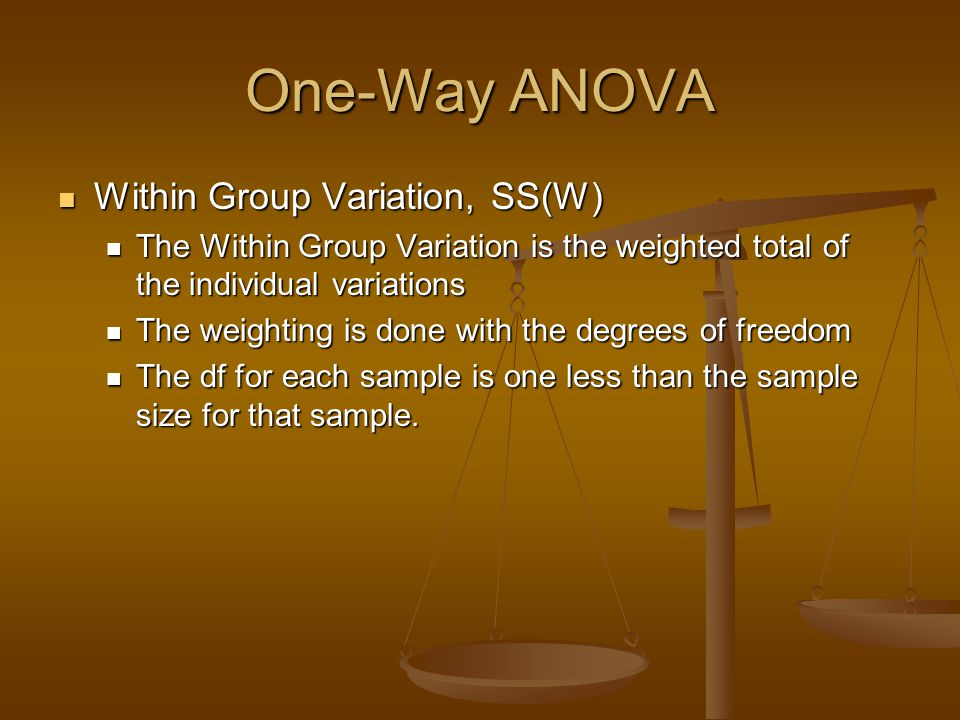 One-Way ANOVA Within Group Variation, SS(W)