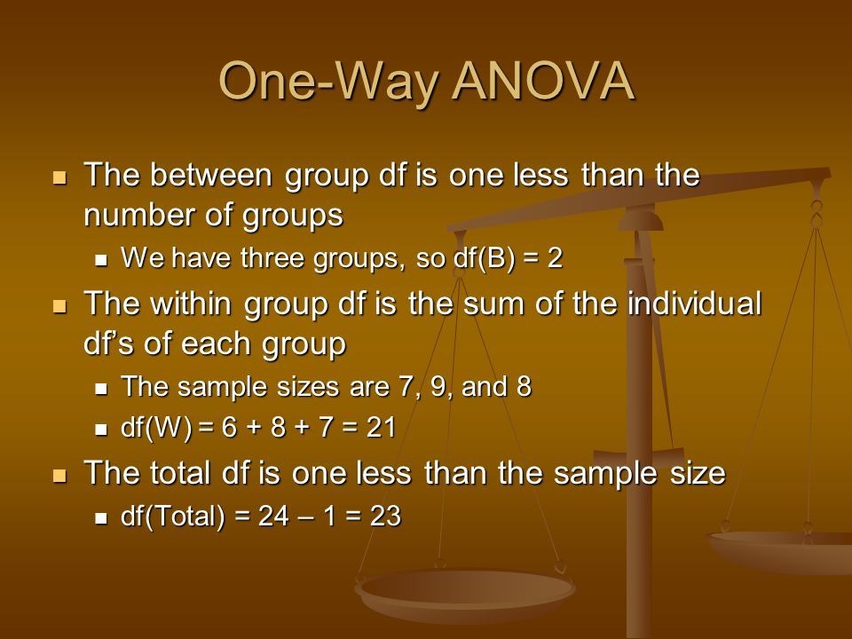 One-Way ANOVA The between group df is one less than the number of groups. We have three groups, so df(B) = 2.