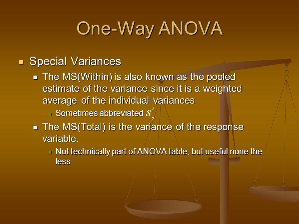 One-Way ANOVA Special Variances