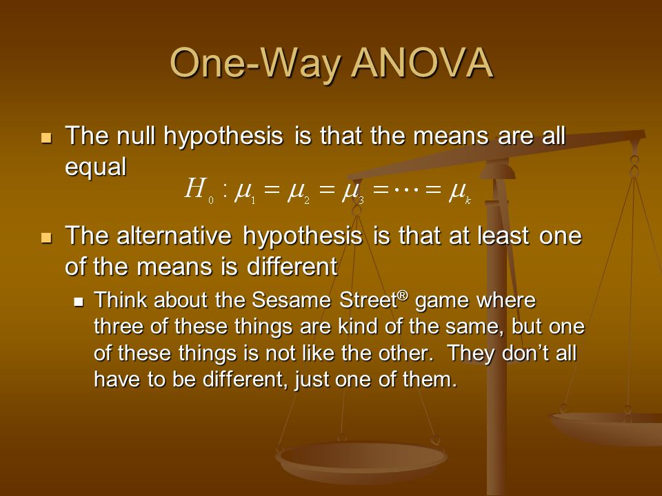 One-Way ANOVA The null hypothesis is that the means are all equal