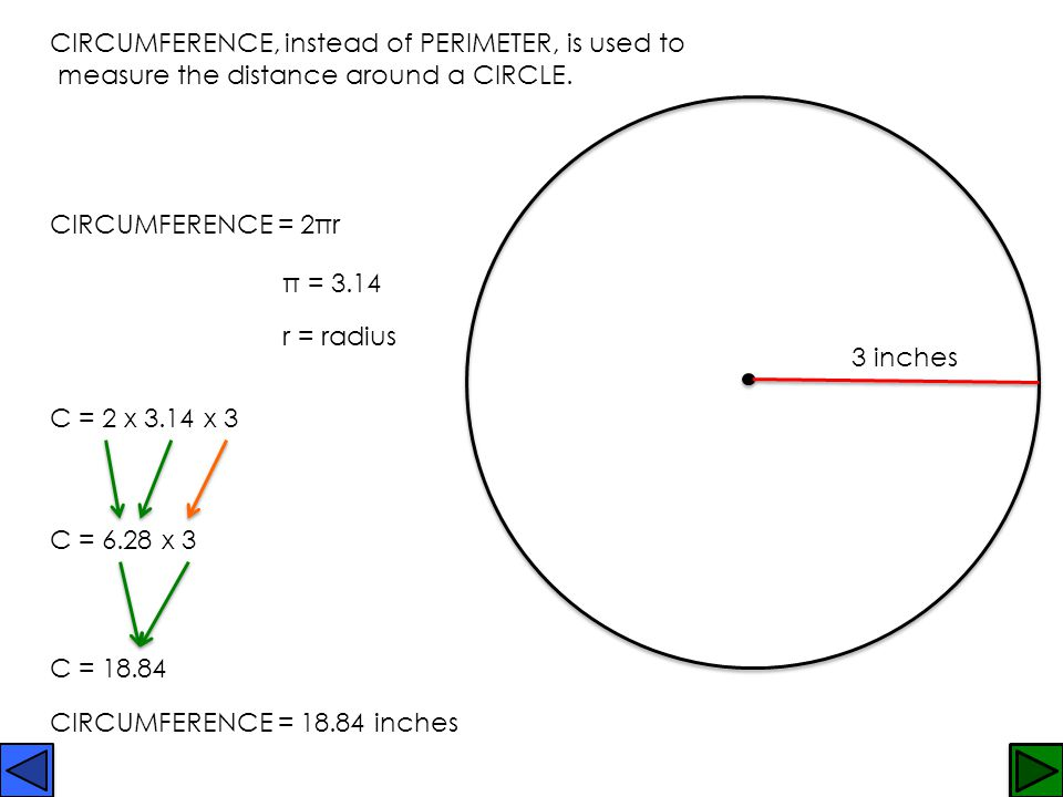 CIRCUMFERENCE, instead of PERIMETER, is used to