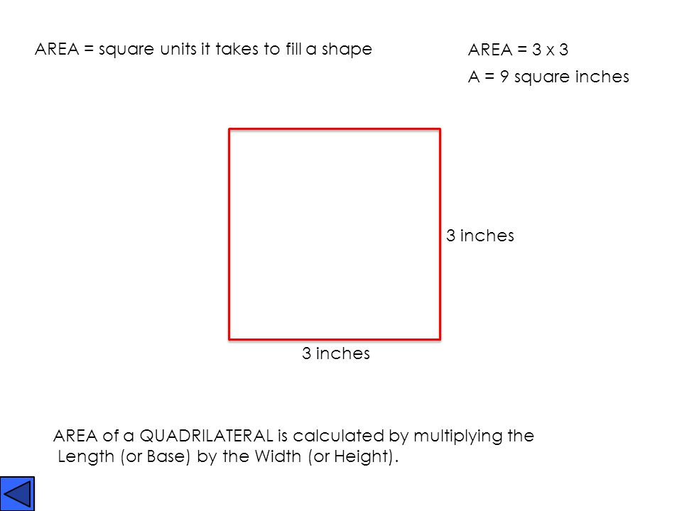 AREA = square units it takes to fill a shape