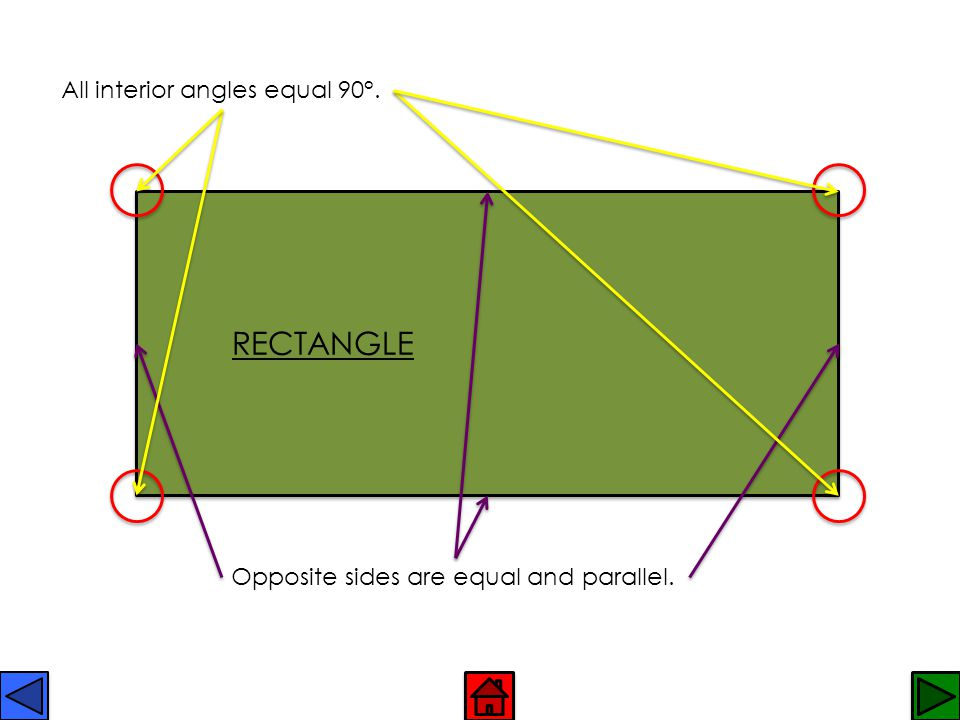 RECTANGLE All interior angles equal 90°.