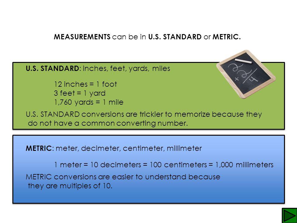 MEASUREMENTS can be in U.S. STANDARD or METRIC.