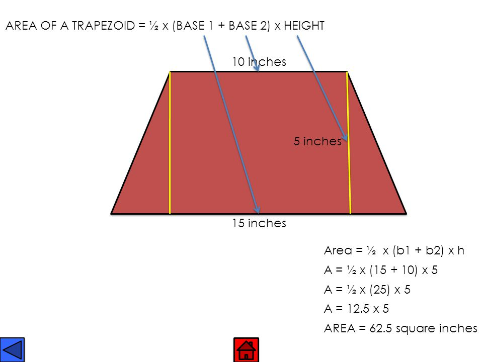 AREA OF A TRAPEZOID = ½ x (BASE 1 + BASE 2) x HEIGHT
