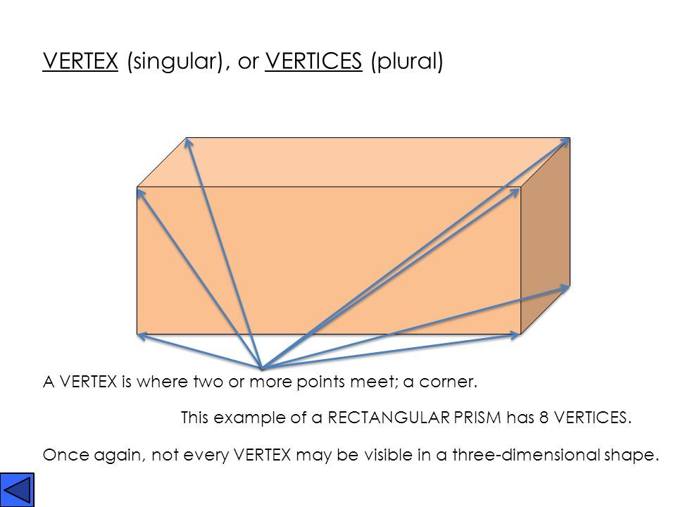 VERTEX (singular), or VERTICES (plural)