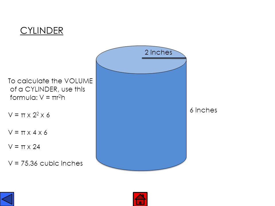 CYLINDER 2 inches To calculate the VOLUME of a CYLINDER, use this